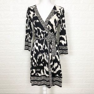 Diane Von Furstenberg Black And White Wrap Dress